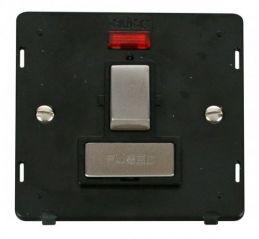 Scolmore Click Definity SIN752BKSS INGOT 13A Fused Sw. Conn. Unit Insert & Neon Black/Stainless Steel