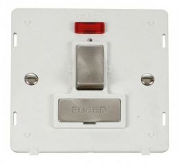 Scolmore Click Definity SIN752PWBS INGOT 13A Fused Sw. Conn. Unit Insert & Neon White/Brushed Stainless