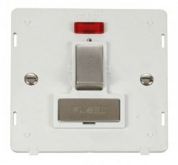 Scolmore Click Definity SIN752PWSS INGOT 13A Fused Sw. Conn. Unit Insert & Neon White/Stainless Steel