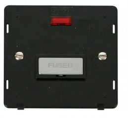 Scolmore Click Definity SIN753BKCH INGOT 13A Fused Conn. Unit Insert & Neon Black/Chrome
