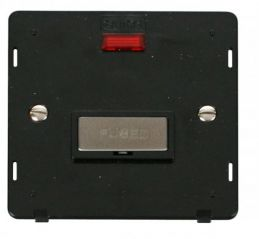 Scolmore Click Definity SIN753BKSS INGOT 13A Fused Conn. Unit Insert & Neon Black/Stainless Steel