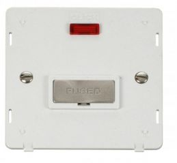 Scolmore Click Definity SIN753PWBS INGOT 13A Fused Conn. Unit Insert & Neon White/Brushed Stainless