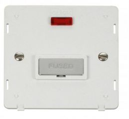 Scolmore Click Definity SIN753PWCH INGOT 13A Fused Conn. Unit Insert & Neon White/Chrome