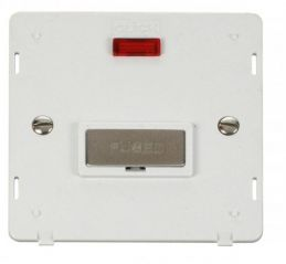 Scolmore Click Definity SIN753PWSS INGOT 13A Fused Conn. Unit Insert & Neon White/Stainless Steel