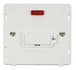 Scolmore Click Definity SIN853PW 13A Fused Connection Unit With Neon (Lockable) Insert White