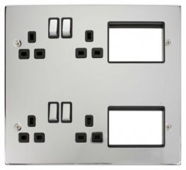 Scolmore Click New Media MP606CHBK 4 x 13A DP Switched Sockets, 2x3 New Media Module Apertures
