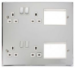 Scolmore Click New Media MP606CHWH 4 x 13A DP Switched Sockets, 2x3 New Media Module Apertures