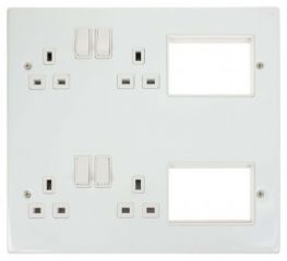 Scolmore Click New Media MP606PW 4 x 13A DP Switched Sockets, 2x3 New Media Module Apertures