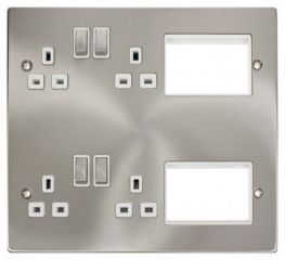 Scolmore Click New Media MP606SCWH 4 x 13A DP Switched Sockets, 2x3 New Media Module Apertures