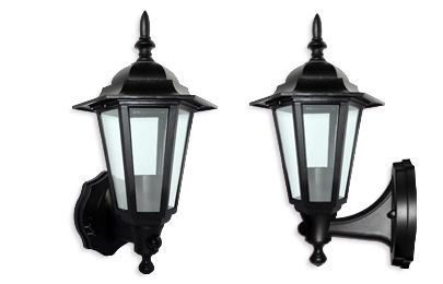 Eterna PIRL60BK Polycarbonate Lantern with PIR - Black