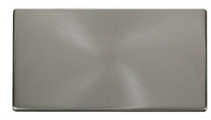 Scolmore Click Definity SCP061BS 2 Gang Blank Plate Cover Plate Brushed Stainless