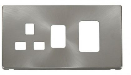 Scolmore Click Definity SCP204BS 45A Switch + 13A Switched Socket Cover Plate Brushed Stainless