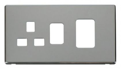 Scolmore Click Definity SCP204CH 45A Switch + 13A Switched Socket Cover Plate Chrome