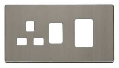 Scolmore Click Definity SCP204SS 45A Switch + 13A Switched Socket Cover Plate Stainless Steel