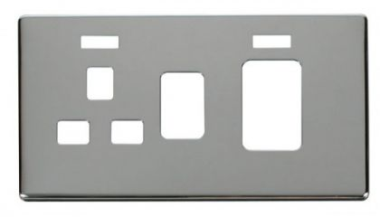 Scolmore Click Definity SCP205CH 45A Switch + 13A Switched Socket With Neons Cover Plate Chrome