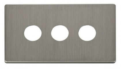 Scolmore Click Definity SCP223SS 3 Gang Toggle Switch Cover Plate Stainless Steel