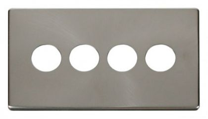 Scolmore Click Definity SCP224BS 4 Gang Toggle Switch Cover Plate Brushed Stainless