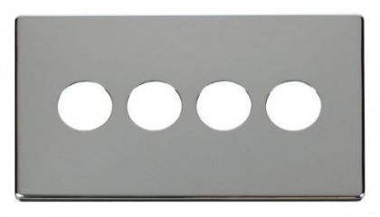 Scolmore Click Definity SCP224CH 4 Gang Toggle Switch Cover Plate Chrome