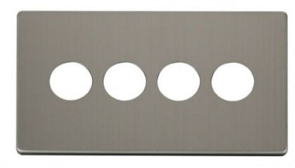 Scolmore Click Definity SCP224SS 4 Gang Toggle Switch Cover Plate Stainless Steel