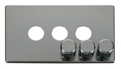 Scolmore Click Definity SCP243CH 3 Gang Dimmer Switch Cover Plate Chrome
