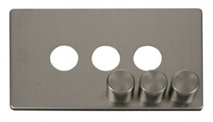 Scolmore Click Definity SCP243SS 3 Gang Dimmer Switch Cover Plate Stainless Steel