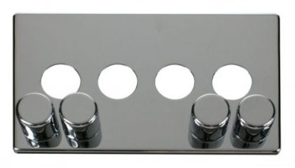 Scolmore Click Definity SCP244CH 4 Gang Dimmer Switch Cover Plate Chrome