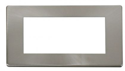Scolmore Click Definity SCP312BS 2 Gang Plate Quad Media Module Cover Plate Brushed Stainless