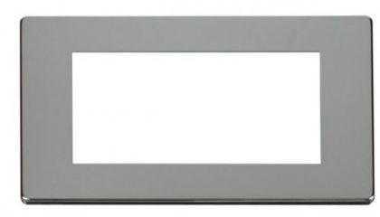 Scolmore Click Definity SCP312CH 2 Gang Plate Quad Media Module Cover Plate Chrome