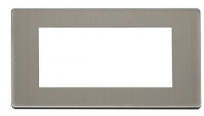 Scolmore Click Definity SCP312SS 2 Gang Plate Quad Media Module Cover Plate Stainless Steel