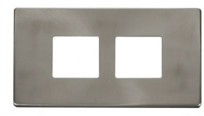 Scolmore Click Definity SCP404BS 2 Gang (2 x 2) Aperture Cover Plate Brushed Stainless