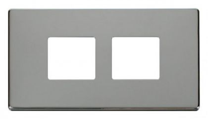 Scolmore Click Definity SCP404CH 2 Gang (2 x 2) Aperture Cover Plate Chrome