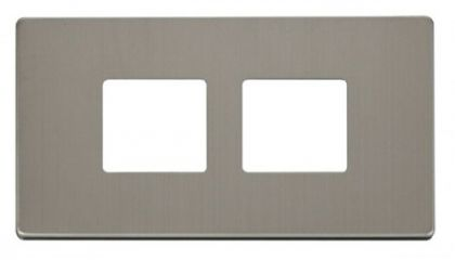 Scolmore Click Definity SCP404SS 2 Gang (2 x 2) Aperture Cover Plate Stainless Steel