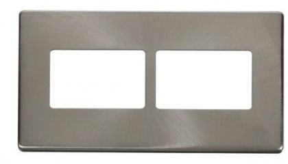 Scolmore Click Definity SCP406BS 2 Gang (2 x 3) Aperture Cover Plate Brushed Stainless