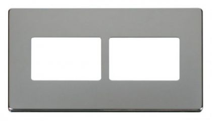 Scolmore Click Definity SCP406CH 2 Gang (2 x 3) Aperture Cover Plate Chrome