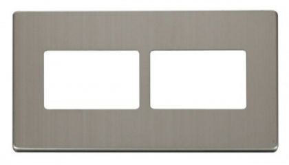Scolmore Click Definity SCP406SS 2 Gang (2 x 3) Aperture Cover Plate Stainless Steel