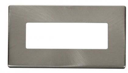 Scolmore Click Definity SCP426BS 2 Gang (6 In-Line) Aperture Cover Plate Brushed Stainless