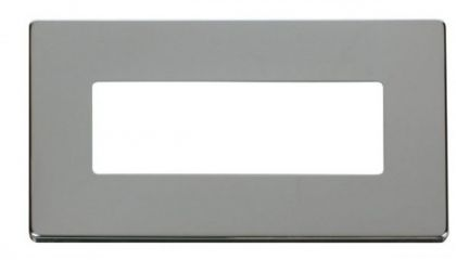 Scolmore Click Definity SCP426CH 2 Gang (6 In-Line) Aperture Cover Plate Chrome