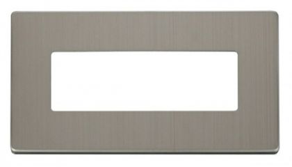 Scolmore Click Definity SCP426SS 2 Gang (6 In-Line) Aperture Cover Plate Stainless Steel