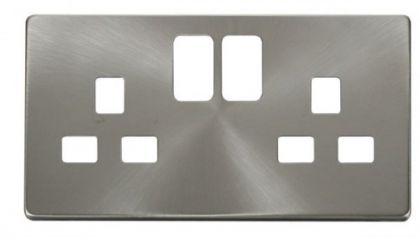 Scolmore Click Definity SCP436BS 2 Gang 13A Switched Socket Cover Plate Brushed Stainless