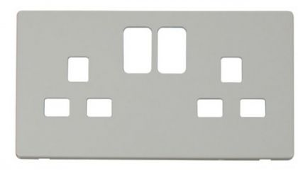 Scolmore Click Definity SCP436PW 2 Gang 13A Switched Socket Cover Plate White
