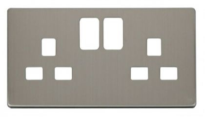 Scolmore Click Definity SCP436SS 2 Gang 13A Switched Socket Cover Plate Stainless Steel