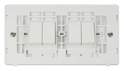Scolmore Click Definity SIN019PW 10AX 4 Gang (2 x 2) 2 Way Switch Insert White
