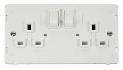 Scolmore Click Definity SIN036PW 2 Gang 13A DP Switched Socket Insert White