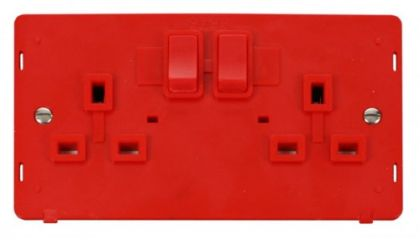 Scolmore Click Definity SIN036RD 2 Gang 13A DP Switched Socket Insert Red