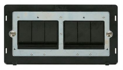 Scolmore Click Definity SIN105BK 10AX 6 Gang (2 x 3) 2 Way Switch Insert Black