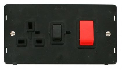 Scolmore Click Definity SIN204BK 45A DP Switch + 13A DP Switched Socket Insert Black
