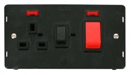 Scolmore Click Definity SIN205BK 45A DP Switch + 13A DP Switched Socket With Neons Insert Black