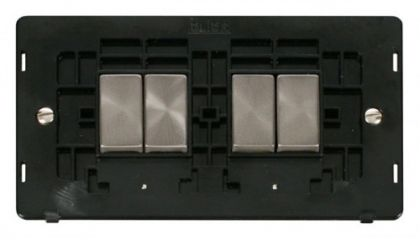 Scolmore Click Definity SIN414BKBS INGOT 10AX 4 Gang 2 Way Switch Insert Black/Brushed Stainless