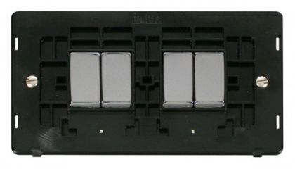 Scolmore Click Definity SIN414BKCH INGOT 10AX 4 Gang 2 Way Switch Insert Black/Chrome