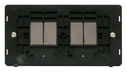 Scolmore Click Definity SIN414BKSS INGOT 10AX 4 Gang 2 Way Switch Insert Black/Stainless Steel